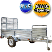 DK2 5' x 7' Mighty Multi Utility Trailer Galvanized with Drive Up Gate - MMT5X7G-DUG