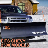 "Chevy 2500 Snow Plow - Brand New 82"" x 19"" DK2 RAMPAGE II Electric Snow Plow"