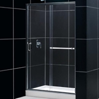 "48"" x 72"" Adjustable Single Sliding Shower Door w/ Stationary Side Glass Panel"