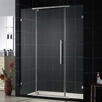 "46"" x 76"" Fully Frameless Heavy Glass Pivot Door with Stainless Steel Hardware"
