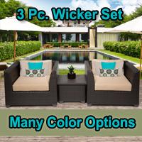 Beach 3 Piece Outdoor Wicker Patio Furniture Set