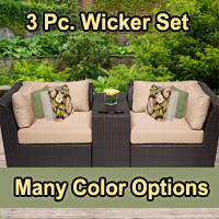 Beach 3 Piece Outdoor Wicker Patio Furniture Set