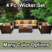 Beach 4 Piece Outdoor Wicker Patio Furniture Set