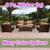 Beach 6 Piece Outdoor Wicker Patio Furniture Set