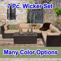 Beach 7 Piece Outdoor Wicker Patio Furniture Set