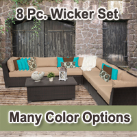 Beach 8 Piece Outdoor Wicker Patio Furniture Set