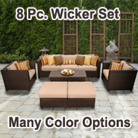 Beach 8 Piece Outdoor Wicker Patio Furniture Set