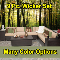 Beach 9 Piece Outdoor Wicker Patio Furniture Set