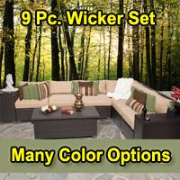 Beach 9 Piece Outdoor Wicker Patio Furniture Set