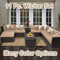 Beach 10 Piece Outdoor Wicker Patio Furniture Set