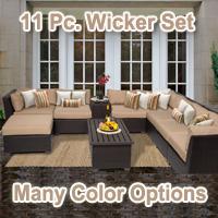 Beach 10 Piece Outdoor Wicker Patio Furniture Set