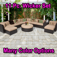 Beach 11 Piece Outdoor Wicker Patio Furniture Set