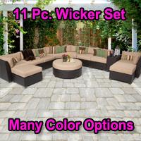 Beach 11 Piece Outdoor Wicker Patio Furniture Set