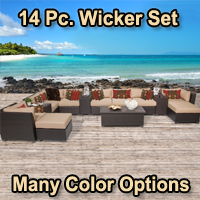 Beach 14 Piece Outdoor Wicker Patio Furniture Set