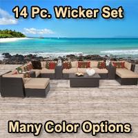 Beach 14 Piece Outdoor Wicker Patio Furniture Set