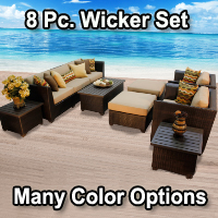 Cabana 8 Piece Outdoor Wicker Patio Furniture Set