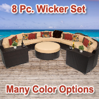 Cabana 8 Piece Outdoor Wicker Patio Furniture Set