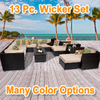 Cabana 13 Piece Outdoor Wicker Patio Furniture Set