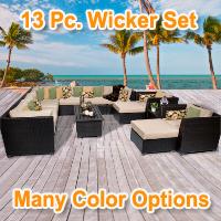 Cabana 13 Piece Outdoor Wicker Patio Furniture Set