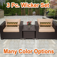 Premium 3 Piece Outdoor Wicker Patio Furniture Set