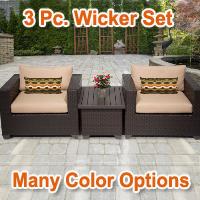 Premium 3 Piece Outdoor Wicker Patio Furniture Set