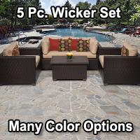 Premium 5 Piece Outdoor Wicker Patio Furniture Set