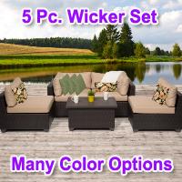 Premium 5 Piece Outdoor Wicker Patio Furniture Set