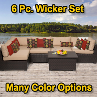Premium 6 Piece Outdoor Wicker Patio Furniture Set