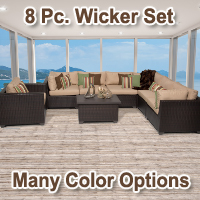 Premium 8 Piece Outdoor Wicker Patio Furniture Set