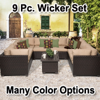 Premium 9 Piece Outdoor Wicker Patio Furniture Set