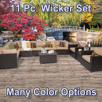Premium 11 Piece Outdoor Wicker Patio Furniture Set