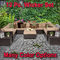Premium 12 Piece Outdoor Wicker Patio Furniture Set
