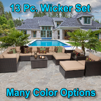 Premium 13 Piece Outdoor Wicker Patio Furniture Set