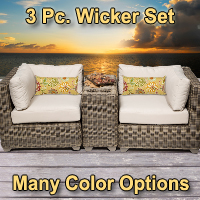 Regal 3 Piece Outdoor Wicker Patio Furniture Set