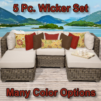 Regal 5 Piece Outdoor Wicker Patio Furniture Set