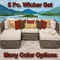 Regal 5 Piece Outdoor Wicker Patio Furniture Set