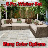 Regal 6 Piece Outdoor Wicker Patio Furniture Set
