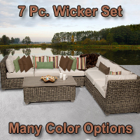 Brand New 2015 Regal 7 Piece Outdoor Wicker Patio Furniture Set