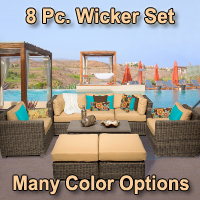 Brand New Regal 8 Piece Outdoor Wicker Patio Furniture Set