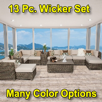 Brand New 2015 Regal 13 Piece Outdoor Wicker Patio Furniture Set