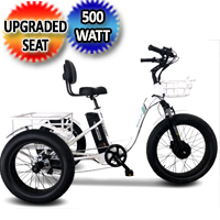 500 Watt Caddy Electric Powered Fat Tire Tricycle Motorized 3 Wheel Trike Scooter Bicycle - Caddy Pro