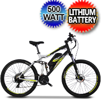 E-Mojo Cougar 500 Watt Electric Mountain Bike 48v Shimano Tourney 27-Speed Cruiser Bicycle Scooter