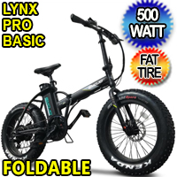 500 Watt Electric 48v Lithium Ion Battery Fat Tire Folding Bike Beach Cruiser Mountain Bicycle - Lynx Pro Basic