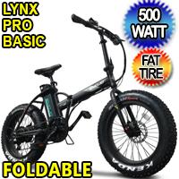 500 Watt Electric 48v Lithium Ion Battery Fat Tire Folding Bike Beach Cruiser Mountain Bicycle - Lynx Pro Basic