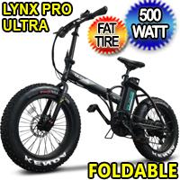 500 Watt Electric 48v Lithium Ion Battery Fat Tire Folding Bike Beach Cruiser Mountain Bicycle - Lynx Pro Ultra