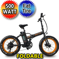 "500 Watt Electric 36v Lithium Battery Fat Tire Folding Bike Beach Cruiser Mountain Bicycle w/ 20"" Tires - Lynx"
