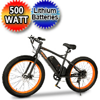 "500 Watt Electric 48v Lithium Battery Fat Tire Bike Beach Cruiser Mountain Bicycle w/ 26"" Tires - WildCat"