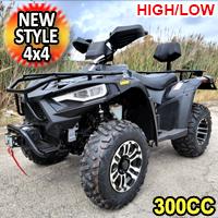 New Style MSA 300cc 4x4 Atv Fully Automatic High/Low  Four Stroke Quad - BigHorn 300 High/Low - BLACK