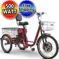 EWheels 500 Watt Adult Electric Powered Tricycle Motorized 3 Wheel Trike Bicycle - EW-29