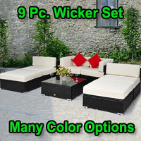 Deluxe Outdoor Rattan Garden Wicker 7-Piece Sofa Chaise Lounge Furniture Set